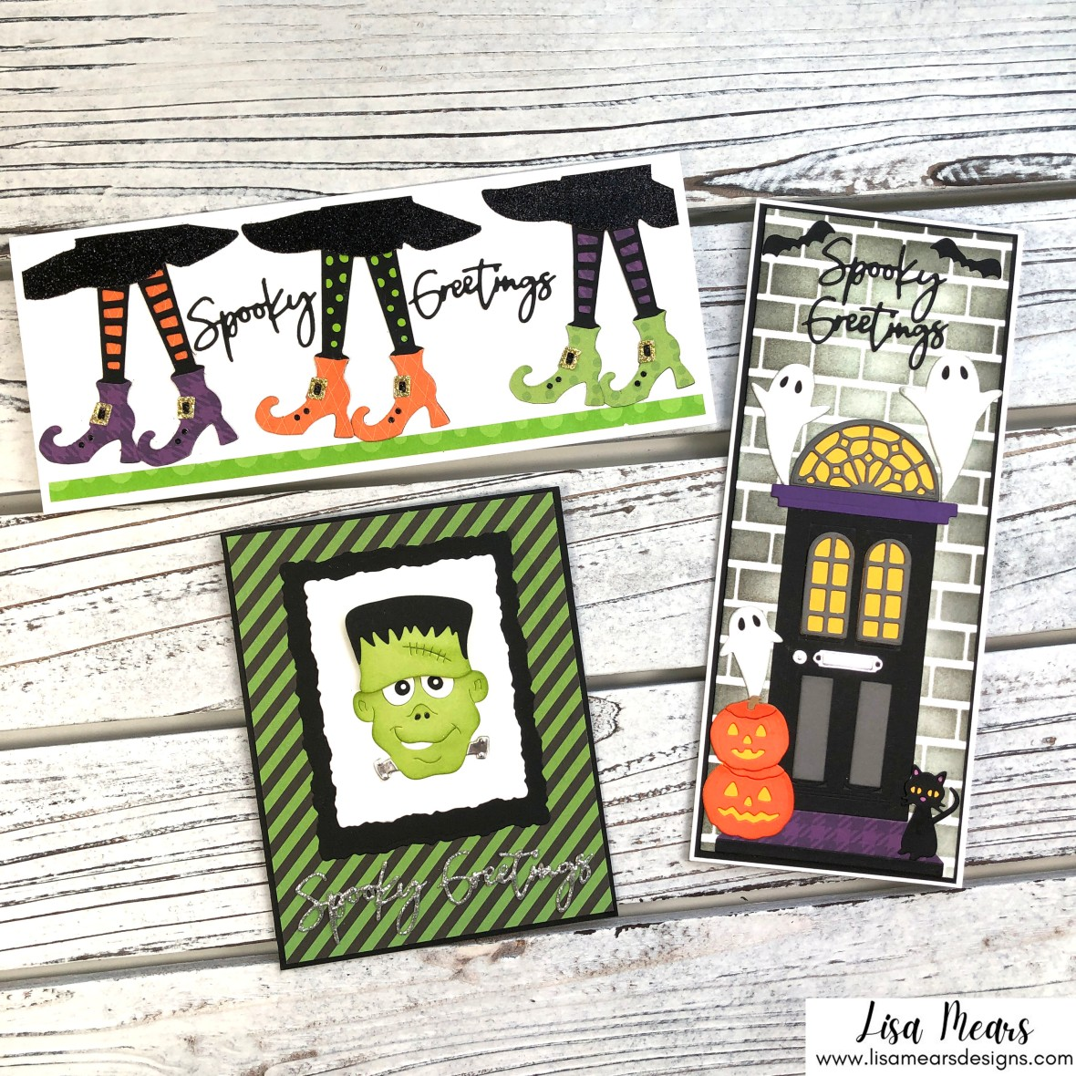 Spellbinders Halloween Cards - Let's Be Frank and Open House Boo - 3 cards