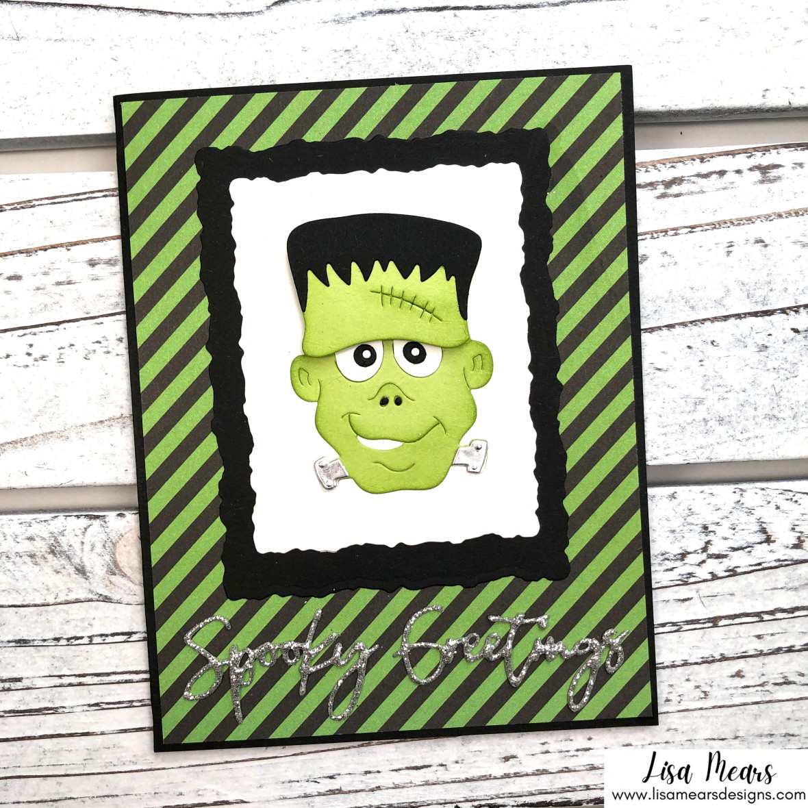 Spellbinders Halloween Card - Let's Be Frank Die Set - Frankenstein Card