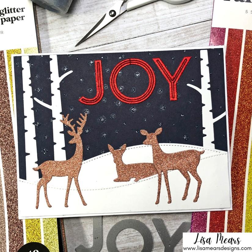 Using Glitter Cardstock - Scrapbook.com Rainbow Glitter Cardstock, Metallic Metals Glitter Cardstock, Downtown Alphabet Dies, and Sunny Studio Rustic Winter