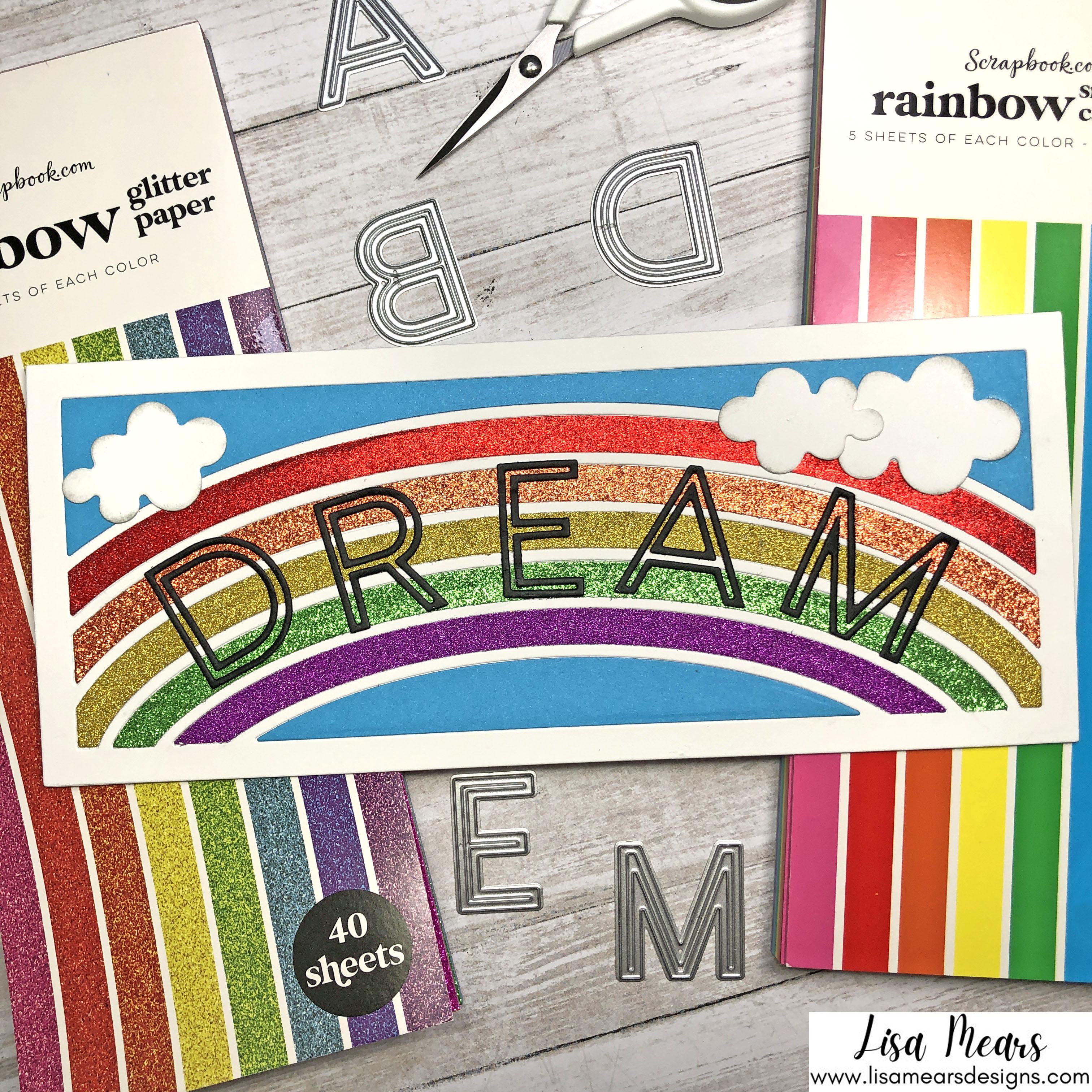 Using Glitter Cardstock - Scrapbook.com Rainbow Glitter Cardstock, Downtown Alphabet Dies, and Waffle Flower Rainbow Slimline Die