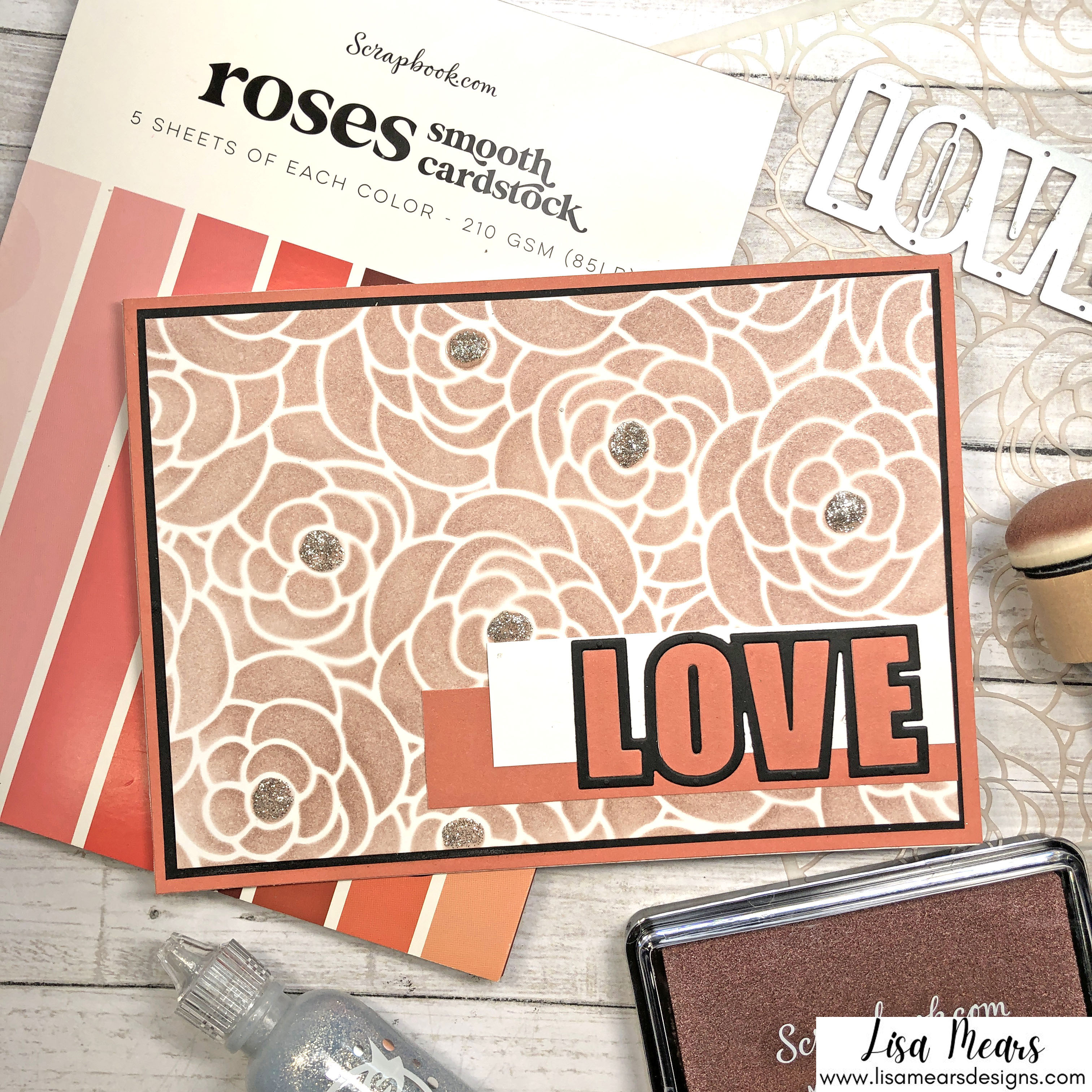 Handmade Card - Scrapbook.com Rose Bloom Stencil with Metallic Rose Gold Ink
