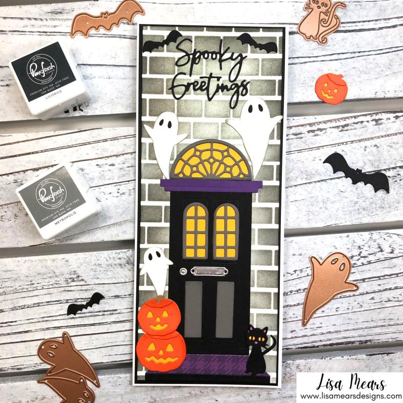 Spellbinders Halloween Card - Open House Boo - House Halloween Card