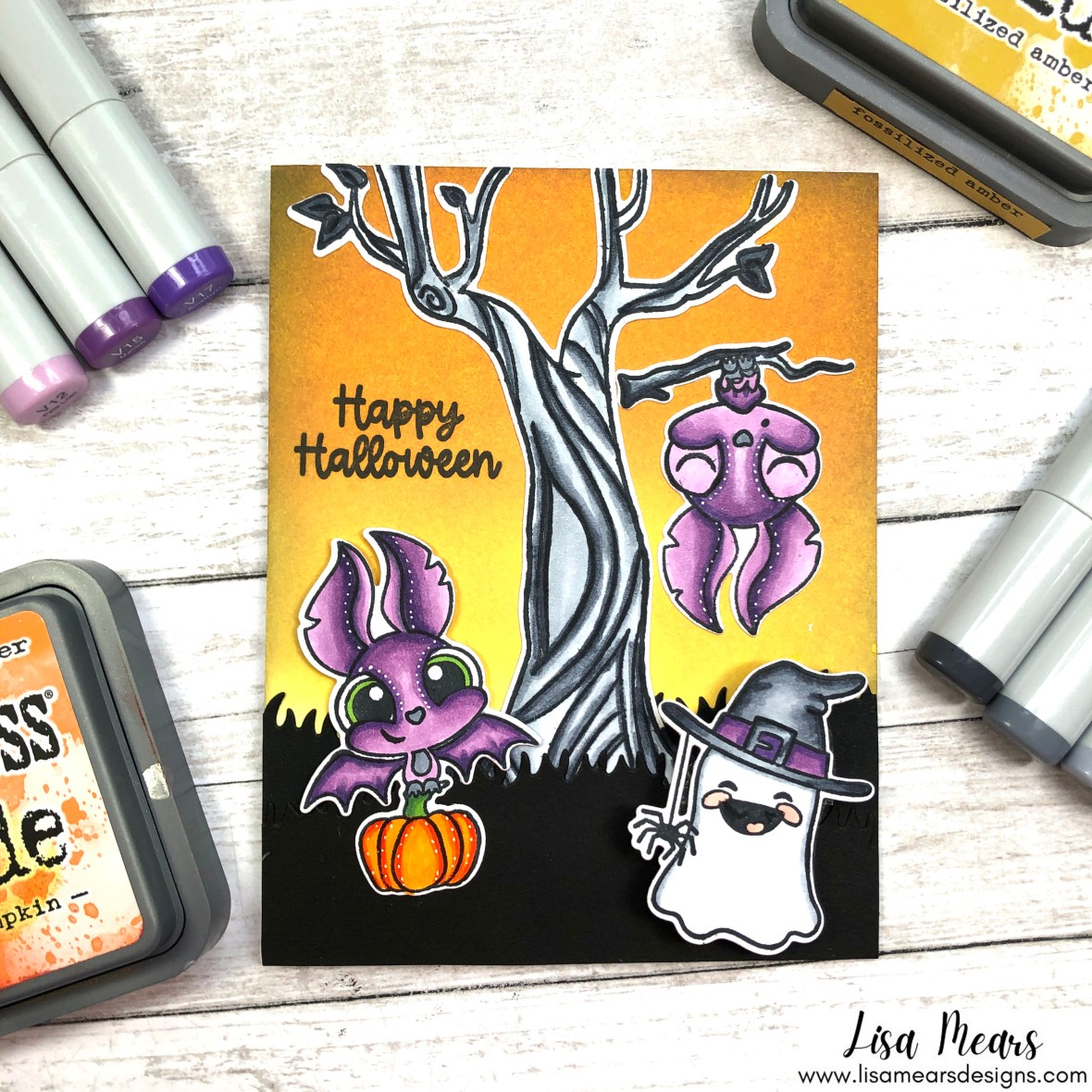 Pink and Main - Batty For You and Hello Bootiful - Halloween Card with Distress Ink Background, Bat, and Ghost
