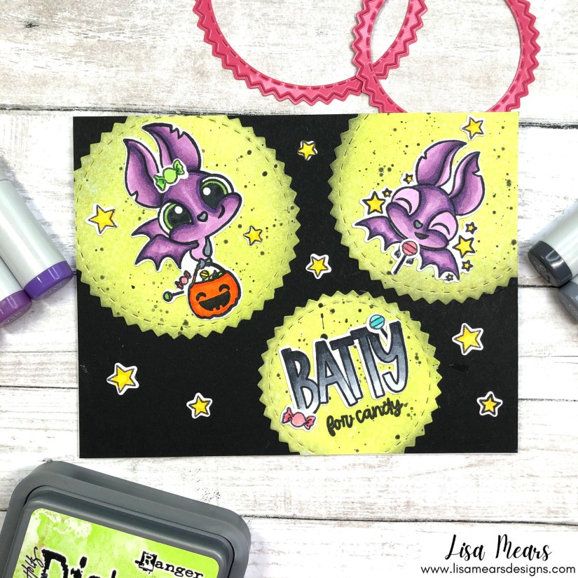 Pink and Main - Batty For You - Halloween Card with Distress Ink Background, Bat