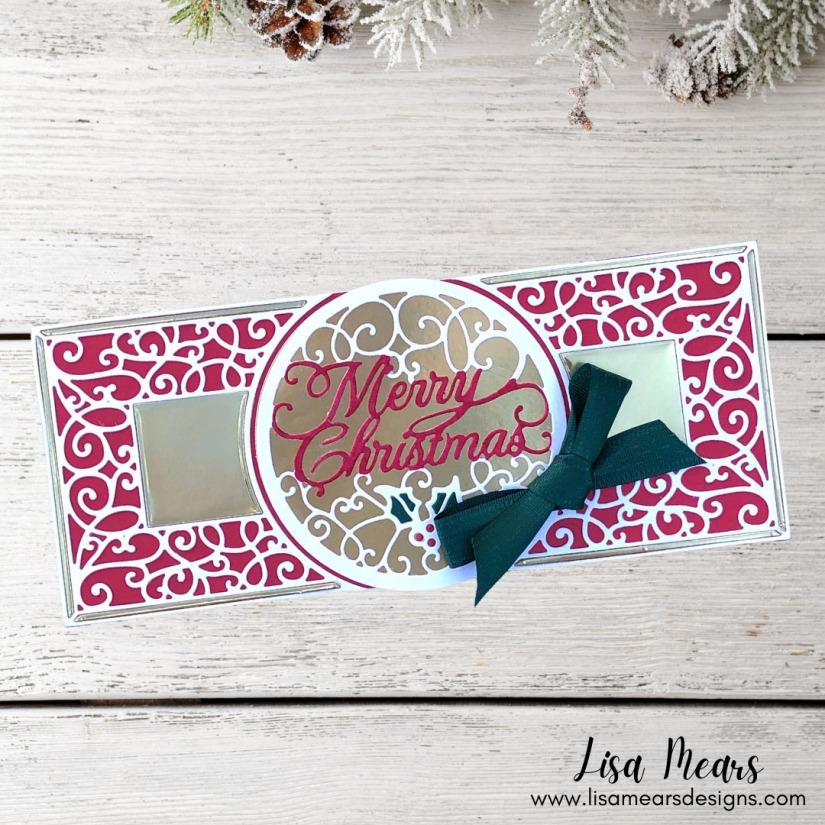 Spellbinders - Holiday Medley Collection by Becca Feeken - Merry Filigree Card Builder - Slimline Christmas Card
