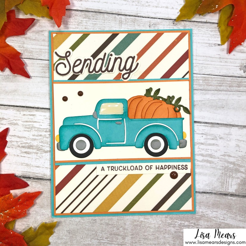 Spellbinders Small Die of the Month October 2021 - Old Fashioned Pick up Truck Fall Card with Pumpkins