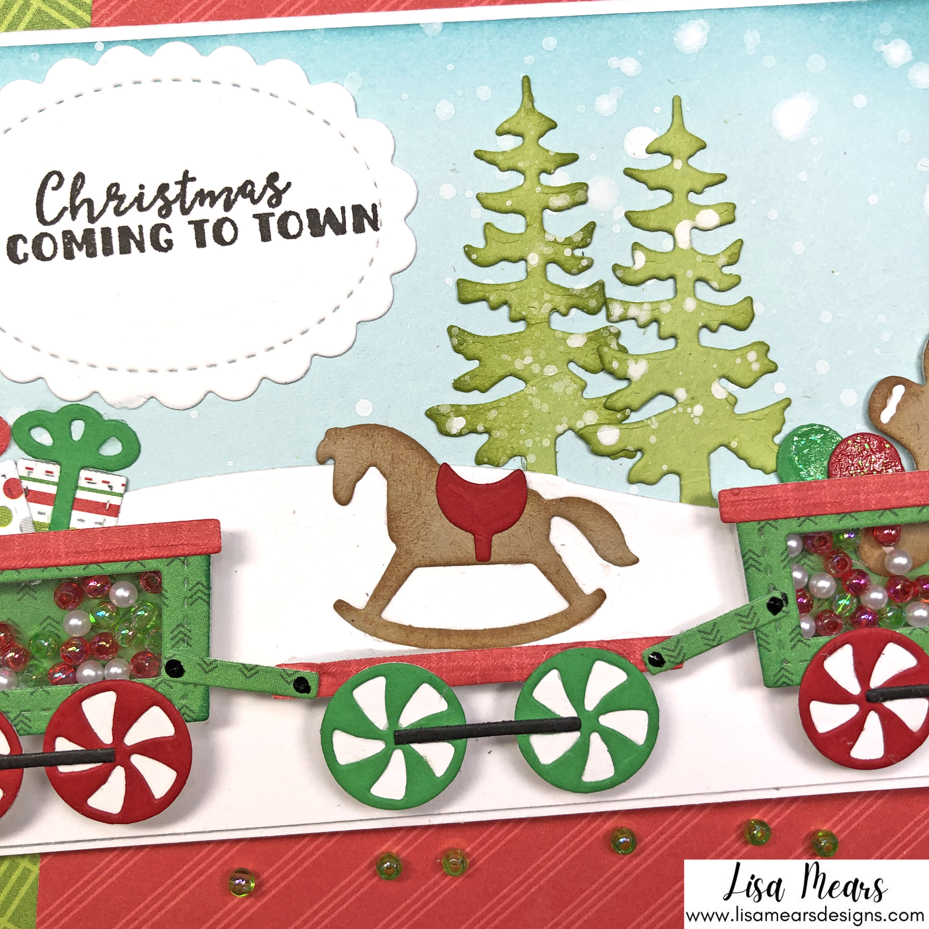 Queen and Company Jolly Jingles Shaker Kit - 10 Cards 1 Kit - Shaker Cards - Slimline Card with Christmas Train