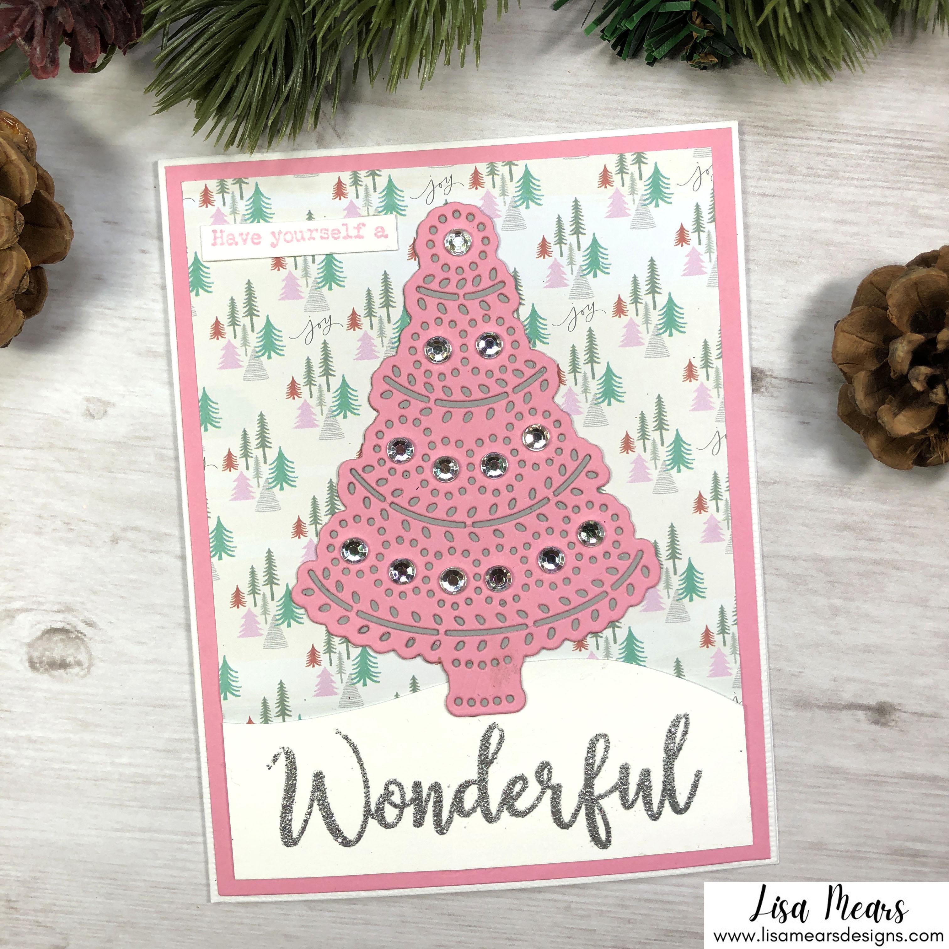 Merry Stitchmas - Spellbinders - Christmas tree card