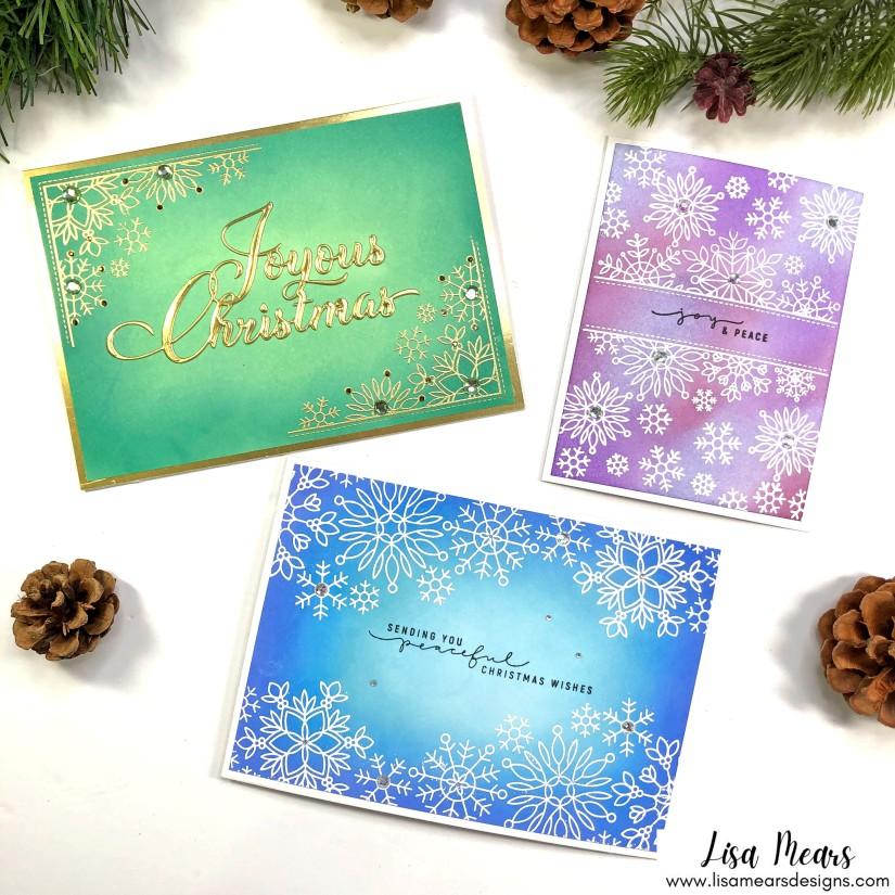 Simon Says Stamp - Peace of Earth Collection - Christmas Cards - Snowflake Edges